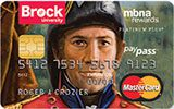 Brock University Rewards Platinum Plus MasterCard issued by MBNA