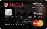 McGill University Rewards Platinum Plus MasterCard issued by MBNA